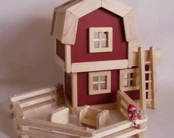 Réalisé sur commande, grange de jouet en bois, bois ferme Play Set, jouet sexe neutre, Waldorf Barnyard jouet, cadeau d'anniversaire enfants, jouets en bois Jacobs
