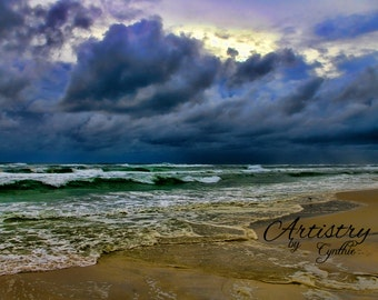 Storm, Beach Photography, Waves, Sunset photo, Landscape, Ocean photography, Coastal Wall Art, Nautical, Stormy day, Cloudy