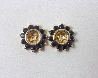 Solid 14K Yellow Gold 1.0 Carat Sapphire Earring Jackets, 2.3 grams, For Studs