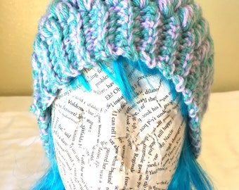 Lavender/Teal/Multi-color-Puff Stitch Crocheted Beanie with Pom Pom, Child/Teenage/Adult Beanie