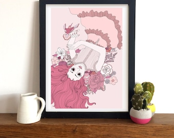 Pink Flower Girl | Art Print | Illustration | A4