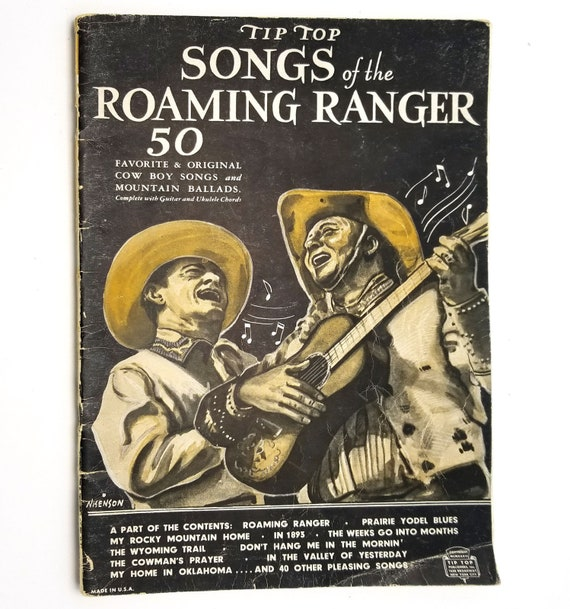 Tip Top Songs of the Roaming Ranger by Joe Davis - Sheet Music / Songbook - 1st Edition 1935