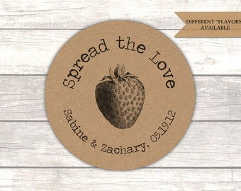 Spread the love jam labels - Jelly labels - Jam labels - Jam wedding favors - Rustic wedding favors - Kraft stickers (RK003)