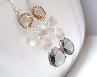 Glass Earrings, Gray Earrings, Grey Earrings, Silver Orchid Earrings, Flower Earrings, Champagne, Peach Earrings, Silver Earrings, Charcoal