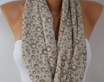 Milky Brown Bubble Infinity Scarf,Spring Scarf Easter Chiffon ,Circle Scarf Loop Scarf Gift Ideas For Her Women Fashion Accessories Scarves