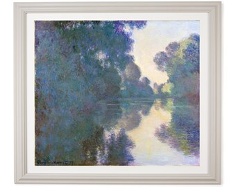 Claude Monet - Morning on the Seine near Giverny - 1897 Impressionist Oil Painting High Quality Print