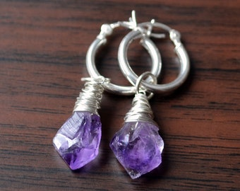Sterling Silver Hoops with Raw Amethyst Stones, Natural Gemstone Earrings, Rough Purple Stone, February Birthstone Jewelry, Free Shipping