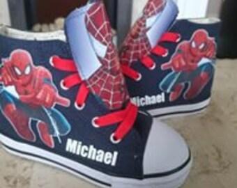 Custom Spiderman High Tops Shoes Sneakers Pumps Boys Personalised