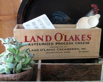 Wood Cheese Box, Land O' Lakes Replica Cheese Box 1996, Vintage Advertising Box, Wood Crate, Planter Box, Kitchen Decor