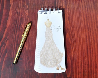 Spiral Bound, Set of 3 Personalized Note Pads Wedding Present Bridal Shower Gift Grocery List Bridal Party Gift To-Do List Wedding Dress