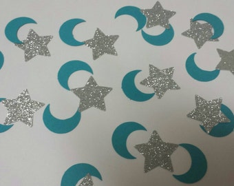Baby shower twinkle twinkle little star confetti moons gold or silver glitter stars 100 pc