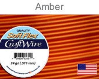 Craft Wire, Soft Flex, 24 gauge, Amber, 20 yds - 1 spool, Wire, Supplies