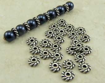 25 TierraCast 6mm Twisted Heishi Rope Spacer Beads > Silver Plated LEAD FREE Pewter - I ship Internationally 0413