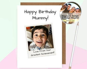 Personalised Birthday Card For Mum | Photo Card | Mummy Mother | CustomBirthday Card | Personalized Card 30th 40th | By Flamingo Lingo B13P