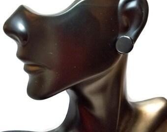 Black Button Earrings, Shiny Button Stud Earrings, Minimalist Black Earrings