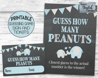 INSTANT DOWNLOAD - Printable Guess How Many Peanuts Game Tickets And Sign / Baby Shower / Blue Elephant / Chalkboard / Gray / Baby Boy BE001