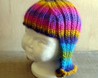 Baby Size Rainbow Hat Hair Knit Wig Baby Wig Rainbow Wig Halloween Costume