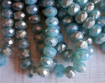 8x6mm Fire Polished Rondelle - Opal Aqua with Mercury Finish - Light Blue - Premium Czech Beads - Bead Soup Beads - Czech Beads