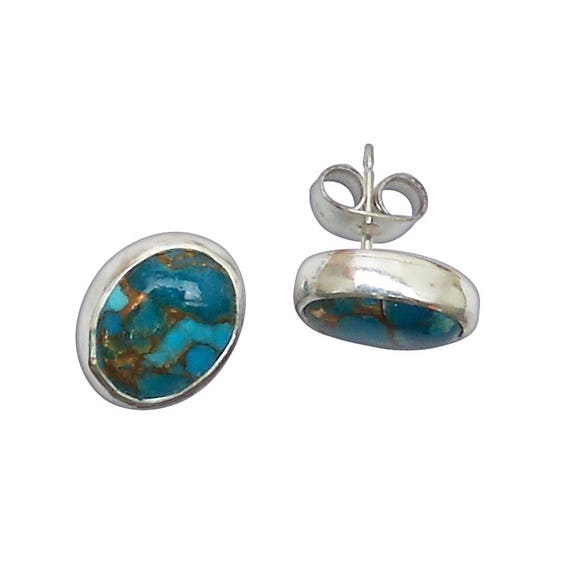 Turquoise with Copper Matrix and Sterling Silver Post Earrings  eture2941