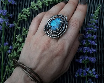 Bower Ring, Sterling Silver and Labradorite, made by Jamie Spinello
