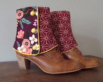 SHORT SPATS Burgundy Japanese and Bohemian flowers