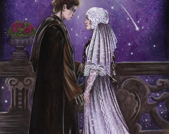 """Across the Stars - Star Wars Traditional Art Watercolor Painting - Fine Art Print 20x30cm (7.9"""" x 11.8"""") - Hand Signed"""