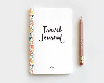 Floral Midori Travelers Notebook Insert, Personalized Travel Journal & Pencil Set - Handmade Stocking Stuffer
