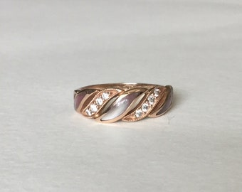 Kabana diamond and mother of pearl 14k rose gold ring