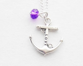 Love Anchor Necklace Silver Anchor Necklace Silver Anchor Charm Anchor pendant Love Necklace Gift Personalized Necklace Gemstone Necklace