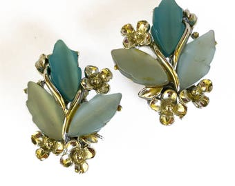 Blue Thermoset Leaf Earrings