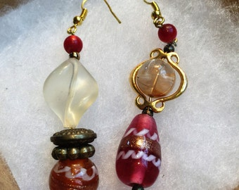 Earrings handcrafted from vintage beads