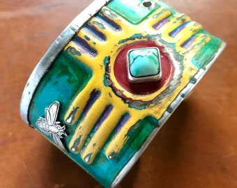 New Mexico Zia with Bee on Side License Plate Cuff Bracelet