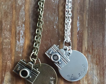 "Oh Snap camera/photography necklace 28"" chain"