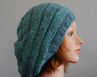 Natural RIAF Soft Warm Hand Crafted Alpaca Extra Slouchy Beanie Hat, Teal With Hint of Pink