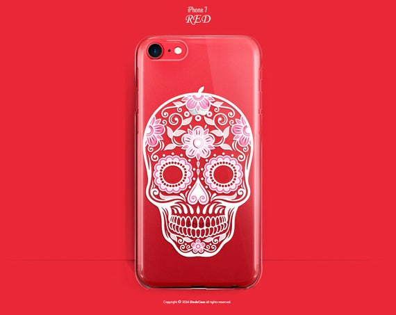 RED iPhone 7 Plus Case RED iPhone 7 Case Clear iPhone 6s Case iPhone 7 Plus Case RED Clear iPhone 7 Case Sugar Skull