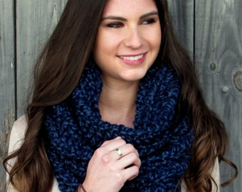 Hooded Cowl Wool Snood Cowl Scarf Chunky Cowl Womens Scarf Wrap Shrug Handmade Knit Scarf - Noni Tunnel Cowl Denim or Choose Your Color