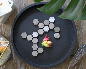 Coffeestone Marble Geometric Hexagon Magnets (Set of 8)