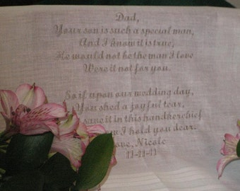 Bride to Father of the Groom Gift Personalized Wedding Handkerchief Mans hankerchief, hanke, hanky, embroidered cotton hankie 111S