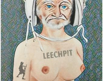 Leechpit Tattooed Geezer Stained Glass Varient T-shirt