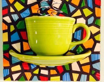 Mosaic Lemongrass Teacup and saucer with steam bright mosaic art kitchen art teapot cafe art 3d wall hanging yoga yoga art zen