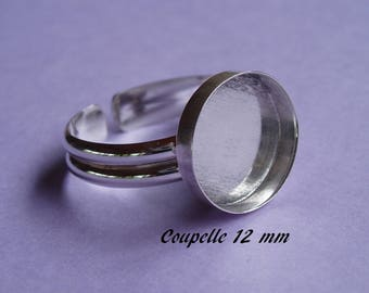 Ring in sterling silver. 925 round 12 mm tray-dish