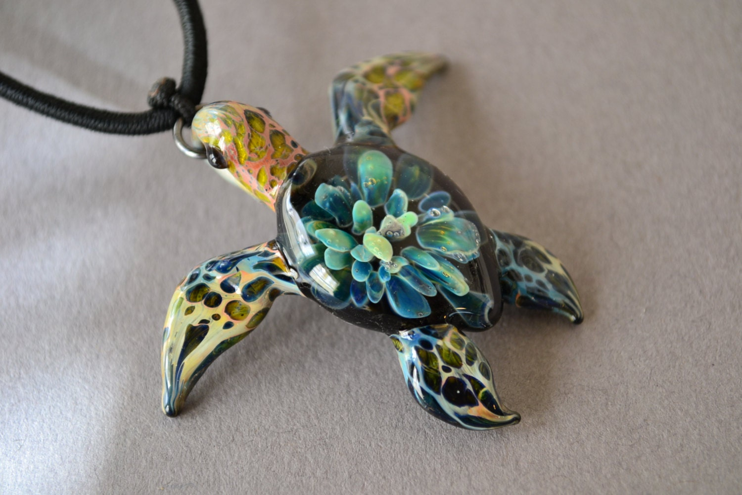 Blown glass pendant necklace sea turtle necklace sea turtle zoom aloadofball Image collections