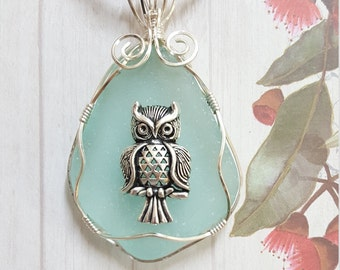 Sea Glass  Pendant with  Owl.   Wire wrapped seaglass.