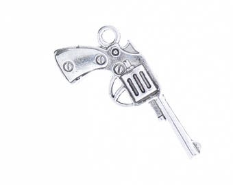 Gun Charm, pistol charm 29mm , sold by 3 each , 02222CS