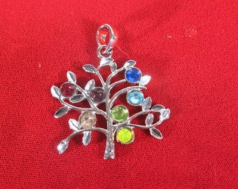 """1pc """"rainbow tree"""" pendant in silver style (BC1385)"""