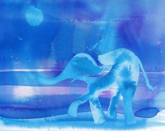 "Elephant Watercolor wall art 8x10"""