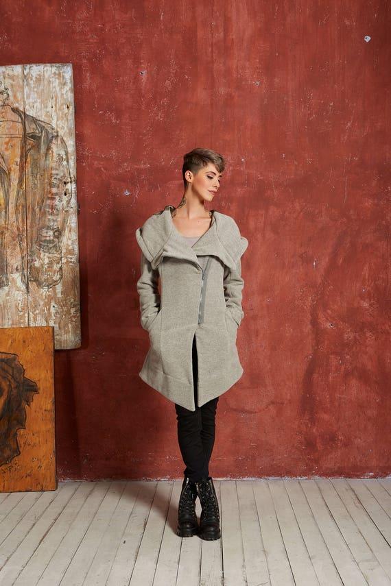 Warm Coat Coat Coat Winter Fitted Wool Gizda Steampunk Clothing Coat Womens Wool Hooded Coat Black Coat Clothing Gothic Asymmetrical YqIA7Y