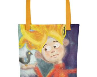 Tote bag Girl with Pigeon, Totebook, Books Bag, Groceries Bag, All Purpose Bag, Illustrated Bag