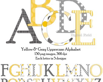 Yellow and gray uppercase alphabet clip art set - printable digital letters - instant download