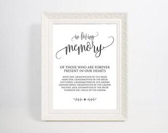 In Loving Memory, Wedding Sign, In Loving Memory Sign, Memory Table Sign, Wedding Printable Sign, Wedding Memorial Sign, WSC_89